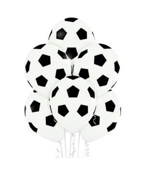 Lateksballonger (6stk): Fotball - 30cm - Hvit (Pastel)
