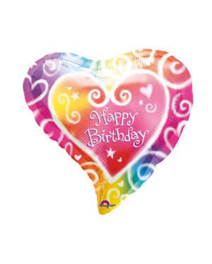 "Folieballong: Fargerik hjerte - ""Happy Birthday"" - 38cm"