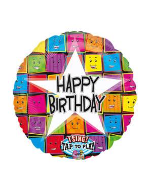 """Syngende Folieballong / Folieballong med musikk: """"Happy Birthday"""" - Stjerne - 71cm"""