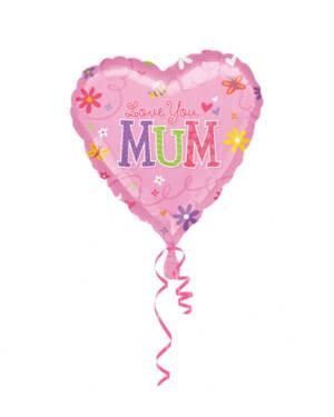 "Folieballong: Hjerte - ""Love You Mum"" - 45cm"