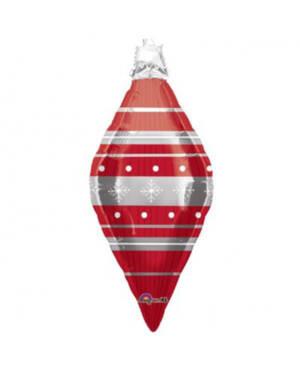 Folieballong: Julekule - Rød - 94 x 41cm