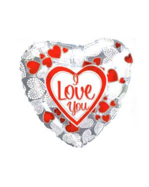 """Folieballong: """"I Love You"""" - Heart - Sølv - 77 x 62cm"""