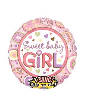 """Syngende Folieballong / Folieballong med musikk: """"Sweet Baby Girl"""" - 71cm"""