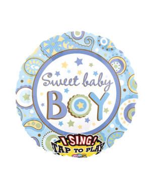 """Syngende Folieballong / Folieballong med musikk: """"Sweet Baby Boy"""" - 71cm"""