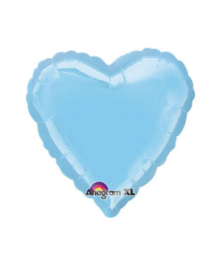 Folieballong: Hjerte - Perle Iriserende Lys Blå - 43cm