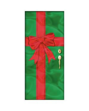 Foliedekor til Dør: Gave - Rød & Grønn - 198 x 91cm