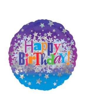"Folieballong: ""Happy Birthday"" - Stjerner - 43cm"