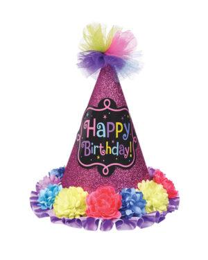"""Festhatt: """"Happy Birthday"""" med blomster - Fargerik - 22,8cm"""