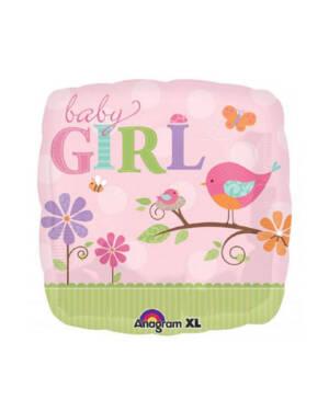 """Folieballong: """"Baby Girl"""" - 43cm"""