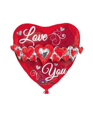 """Folieballong: """"Love You"""" - Hjerte med Hjertekjede- 58cm"""