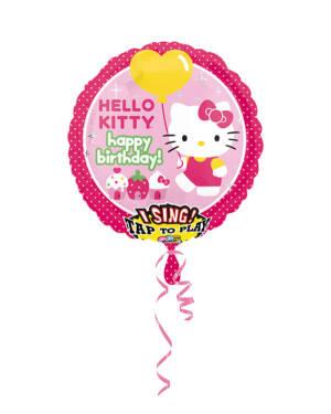 """Syngende Folieballong / Folieballong med musikk - Hello Kitty: """"Happy Birthday"""" - 71 x 71cm"""