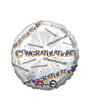 "Folieballong: ""Congratulations"" - Sølv - 43cm"