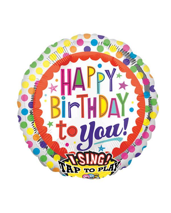 """Syngende Folieballong / Folieballong med musikk: """"Happy Birthday To You"""" - Prikker - 71cm"""