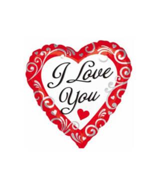 "Folieballong: ""I Love You"" - Hvit - 43cm"