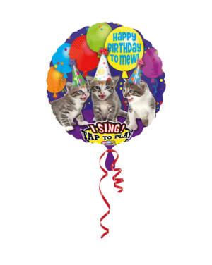 """Folieballong med musikk: """"Happy Birthday to Mew"""" - Katter - 71cm"""