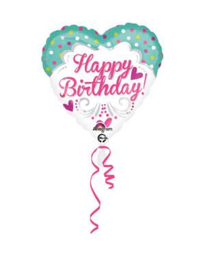 "Folieballong: ""Happy Birthday"" - Prinsesse - 43cm"