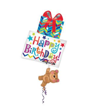 """Folieballong: """"Happy Birthday"""" - Bamse som Holder Gave - 53 x 86cm"""