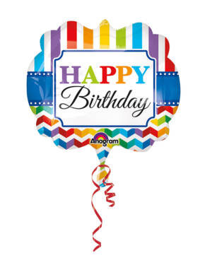 "Folieballong: ""Happy Birthday"" - Striper - 63 x 55cm"