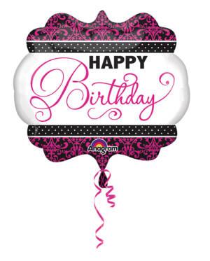 "Folieballong: ""Happy Birthday"" - Rosa, Svart & Hvit - 63 x 55cm"