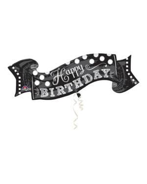 "Folieballong: ""Happy Birthday"" - Svart & Hvit - 101 x 48cm"