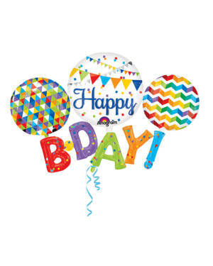 "Folieballong: Multifarget - ""Happy B. Day!"" - 142 x 91cm"