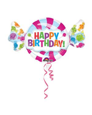 "Folieballong: Candy / Sukkertøy - ""Happy Birthday"" - 101 x 60cm"