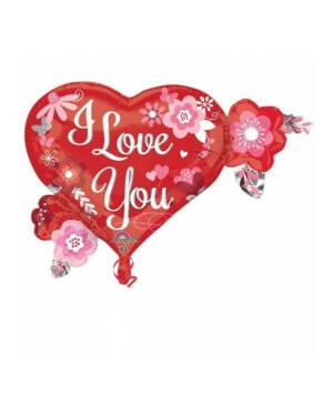 """Folieballong: """"I Love You"""" - Hjerte med Blomster - 68 x 50cm"""