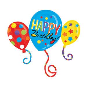 """Folieballong: """"Happy Birthday"""" - 3 Sammensatte ballonger - 86 x 78cm"""