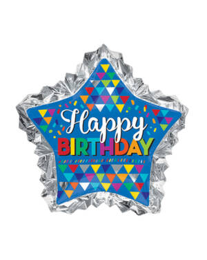 "Folieballong: Stjerne - ""Happy Birthday"" - 86 x 81cm"