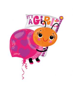 "Folieballong: ""It's a Baby Girl - Marihøne - 63 x 81cm"