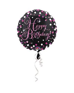 "Folieballong: Rund - Svart & Rosa - ""Happy Birthday To You"" - 43cm"