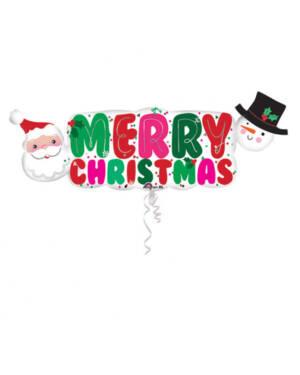 """Folieballong: Julenisse & Snømann - """"Merry Christmas"""" - 104 x 40cm"""