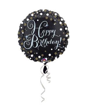"""Folieballong: Rund - Svart & Gull - """"Happy Birthday To You"""" - 43cm"""
