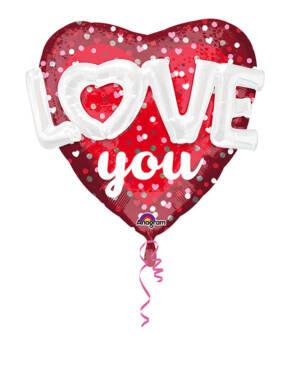 """Folieballong: Hjerte - """"Love You"""" - 91 x 91cm"""