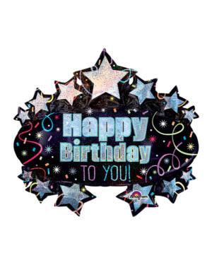 "Folieballong: ""Happy Birthday To You!"" - Stjerner - 78 x 71cm"