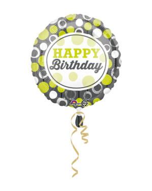 """Folieballong: """"Happy Birthday - Grønne & Sølv Sirkler - 43cm"""
