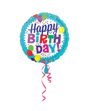 "Folieballong: ""Happy Birthday"" - Balloon Burst - 43cm"