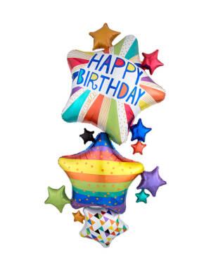 "Folieballong: ""Happy Birthday"" - Stjerner - Flerfarget - 93 x 170cm"