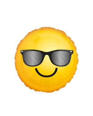 Folieballong: Emoticon - Smiley med Solbriller - 43cm