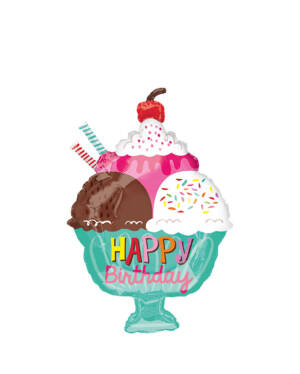 """Folieballong: """"Happy Birthday"""" - Iskrem - 38 x 58cm"""
