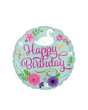 "Folieballong: ""Happy Birthday"" - Svane - 43cm"