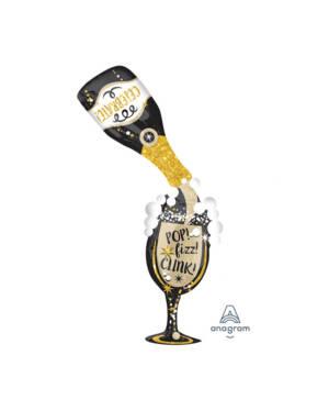 Folieballong: Champagneflaske & glass - 86 x 177cm