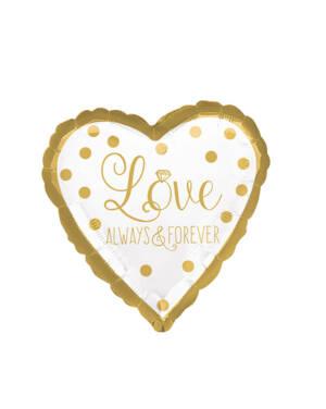 """Folieballong: Hjerte - """"Love Always & Forever"""" - Gull - 43cm"""
