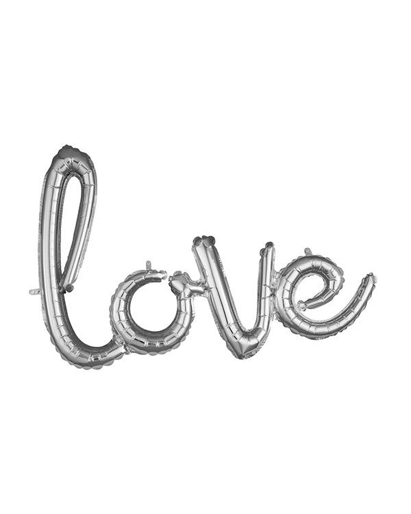 """Folieballong / Ballongbanner: """"love"""" - Sølv - 78 x 53cm"""
