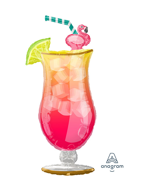 Folieballong: Tropisk Drikke med Flamingo - 50 x 104cm