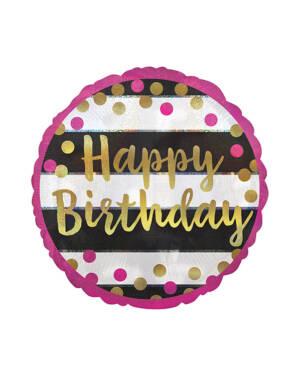 "Folieballong: ""Happy Birthday"" - Rosa & Gull Prikker - 43cm"