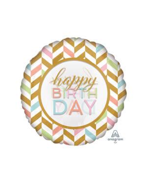 "Folieballong: ""Happy Birthday"" - Pastell Feiring - 71 x 71cm"