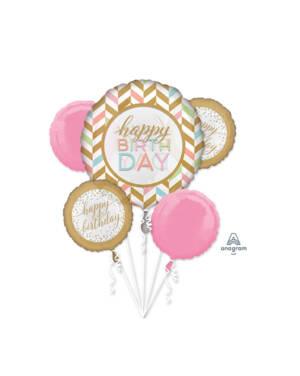 """Ballongbukett: """"Happy Birthday"""" - Pastel Konfetti Fest"""