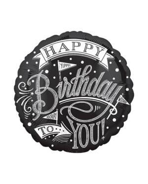 "Folieballong: Rund - Svart - ""Happy Birthday To You"" - 43cm"