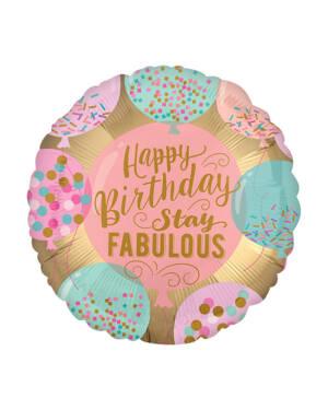 "Folieballong: ""Happy Birthday"" & ""Stay FABULOUS"" - 45cm"